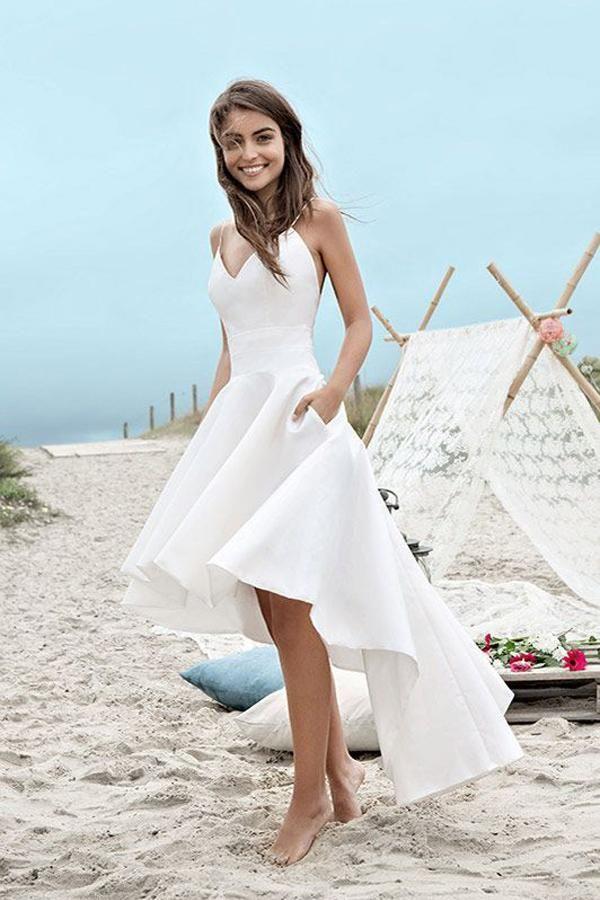 Sweetheart Spaghetti Beach Wedding Dresses Backless High Low Cheap