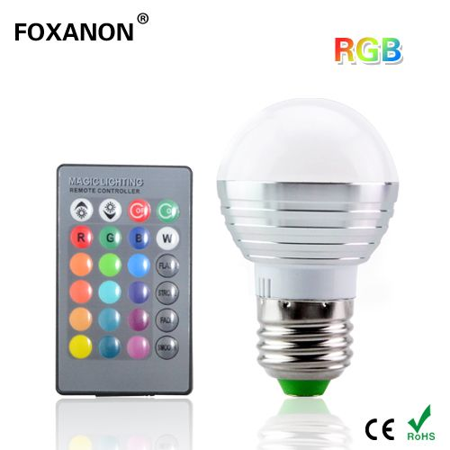 Foxanon E27 16 Kleuren Veranderen 3 W 85-265 V magic RGB LED Lamp ...