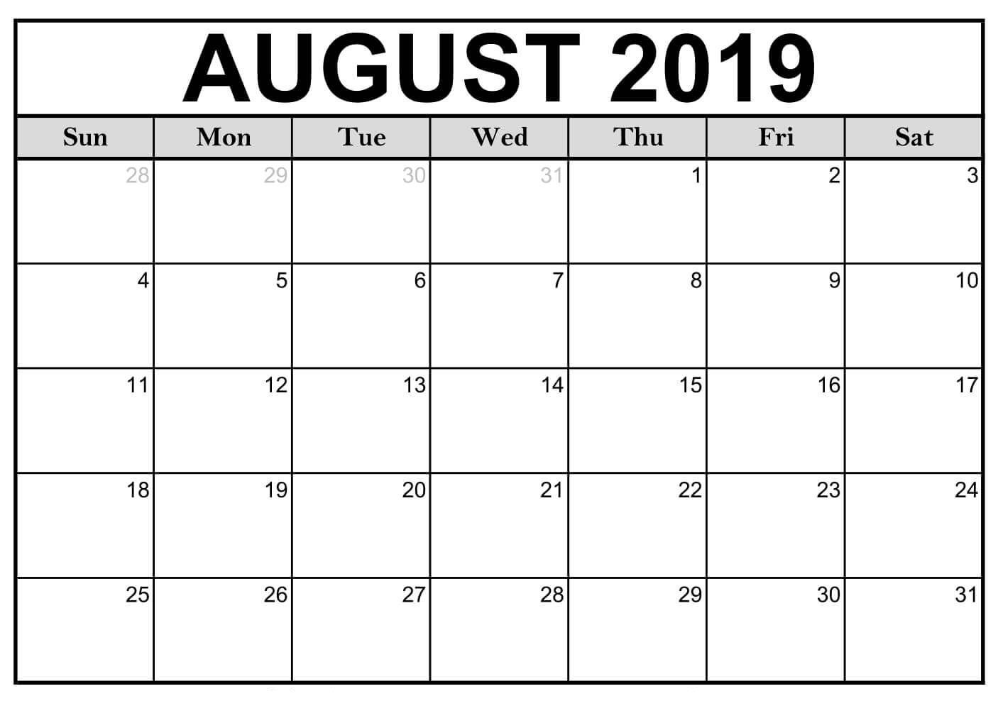 Collect 2019 Calendar Printable Word August Monthly Calendar