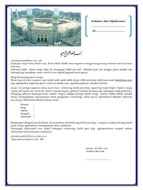 Contoh Undangan Haji Bahasa Sunda   Undangan dan Bahasa