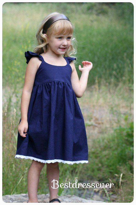 1b2f9a5b8 Toddler Navy blue dress - Baby girl Dress - Flutter sleeves ...