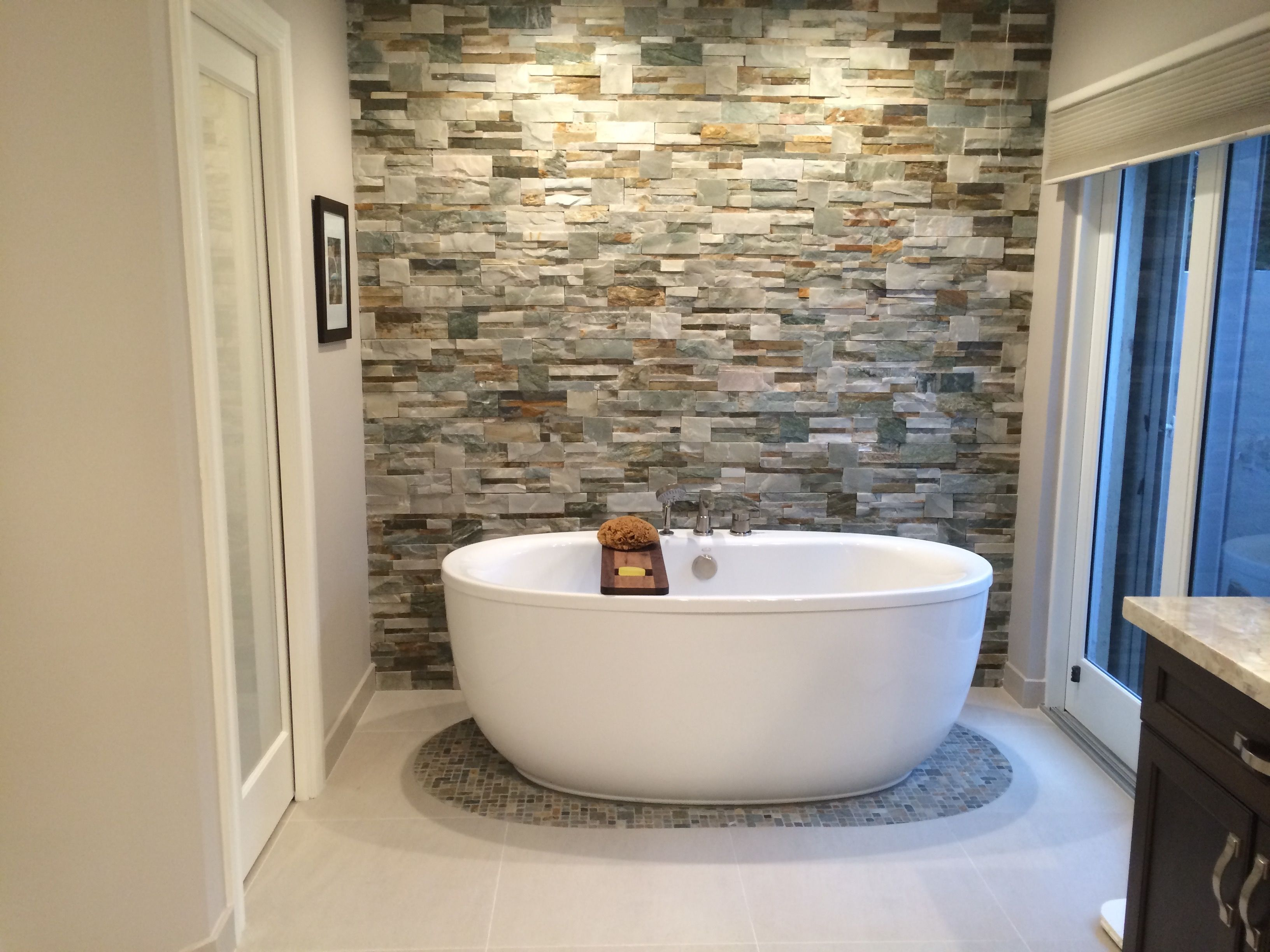 Natural Stone In Master Bath Natural Stone Tile Rug Under Tub Bathtub Remodel Tub Remodel Natural Stone Tile Bathroom