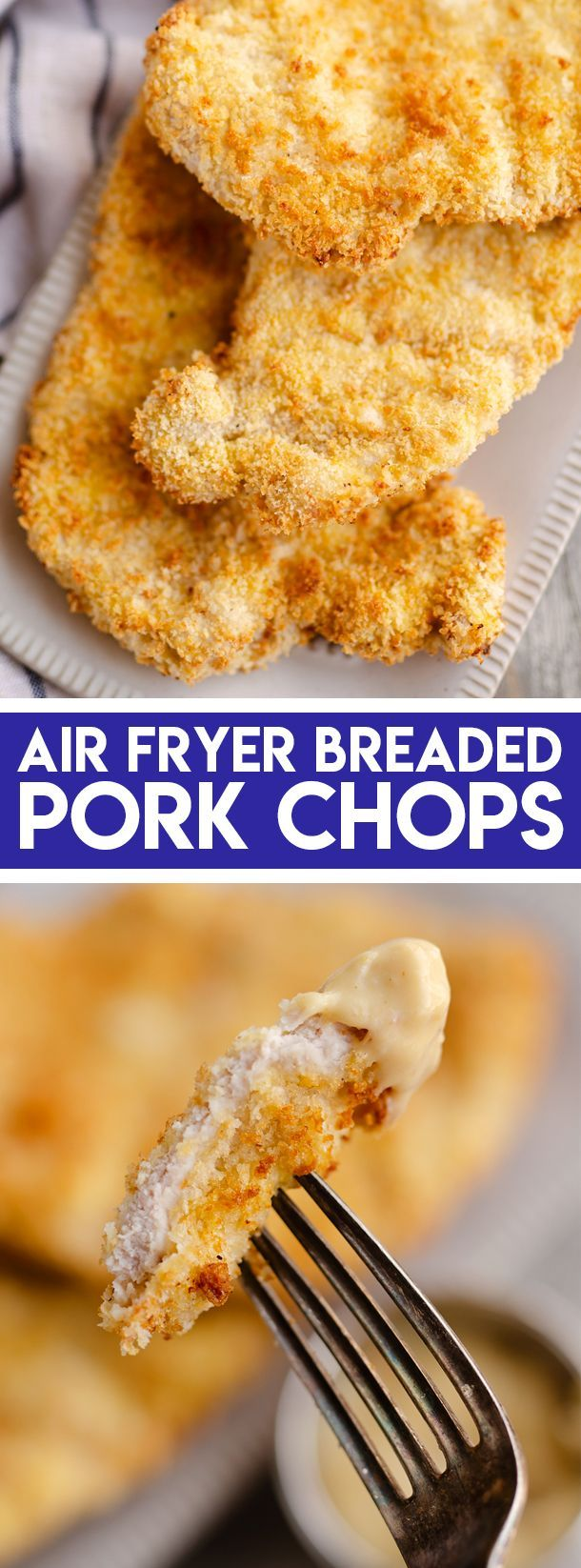 Crispy Air Fryer Breaded Pork Chops are crunchy on the