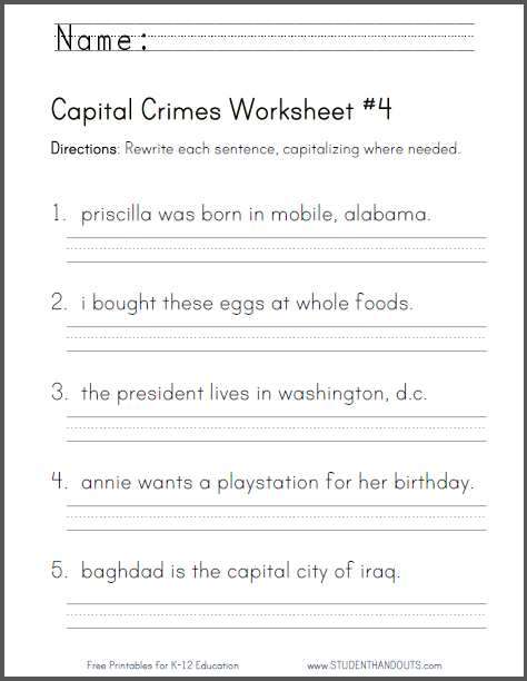 Capital Crimes Worksheet 4 Student Handouts Grammar Worksheets 2nd Grade Writing Writing Conventions