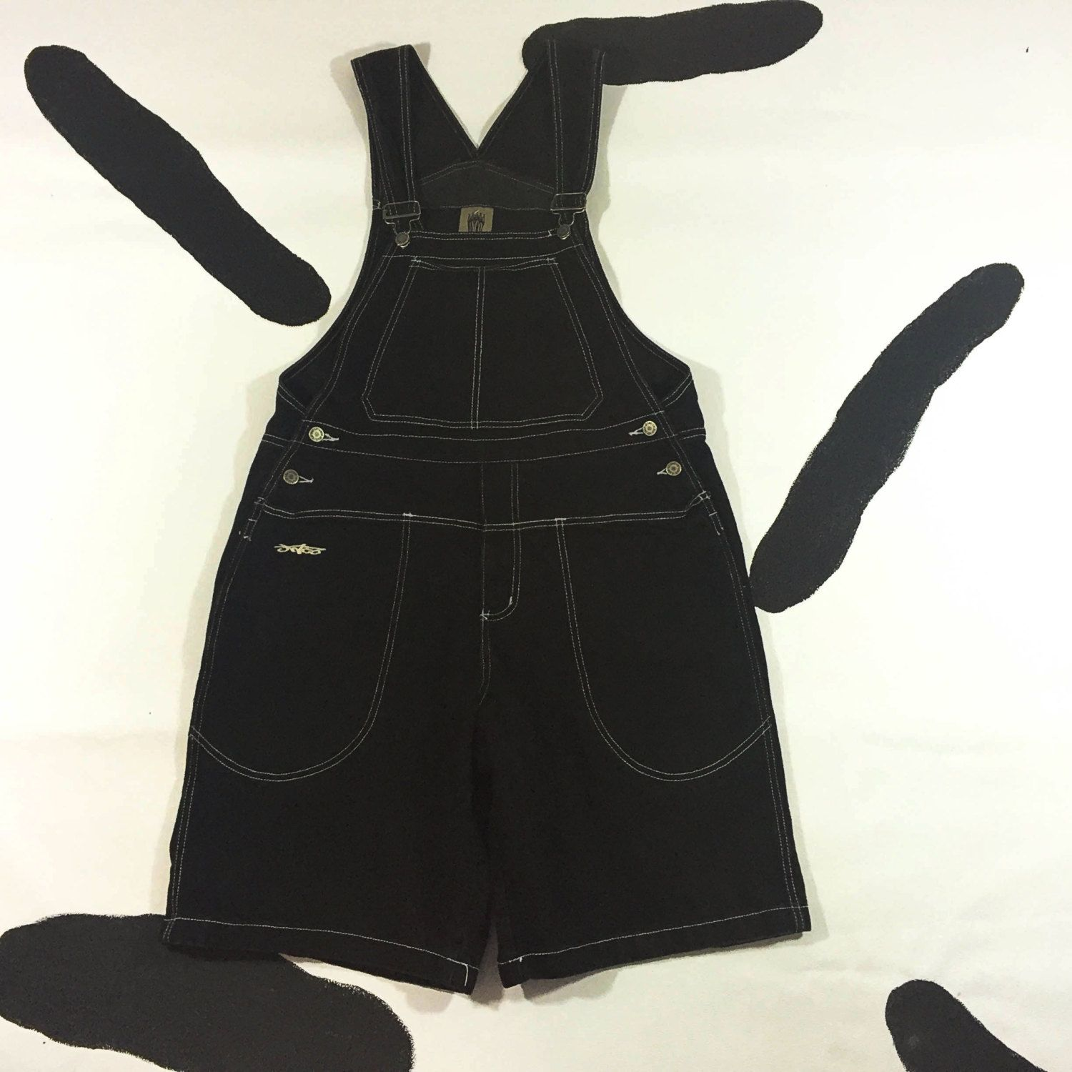 dda8787176 90s JNCO Black Denim Overalls   Size Large   Contrast Stitching   Skater    Club Kid   Vaporwave   Nu Metal   Made in USA   Oversize   Mens by ...