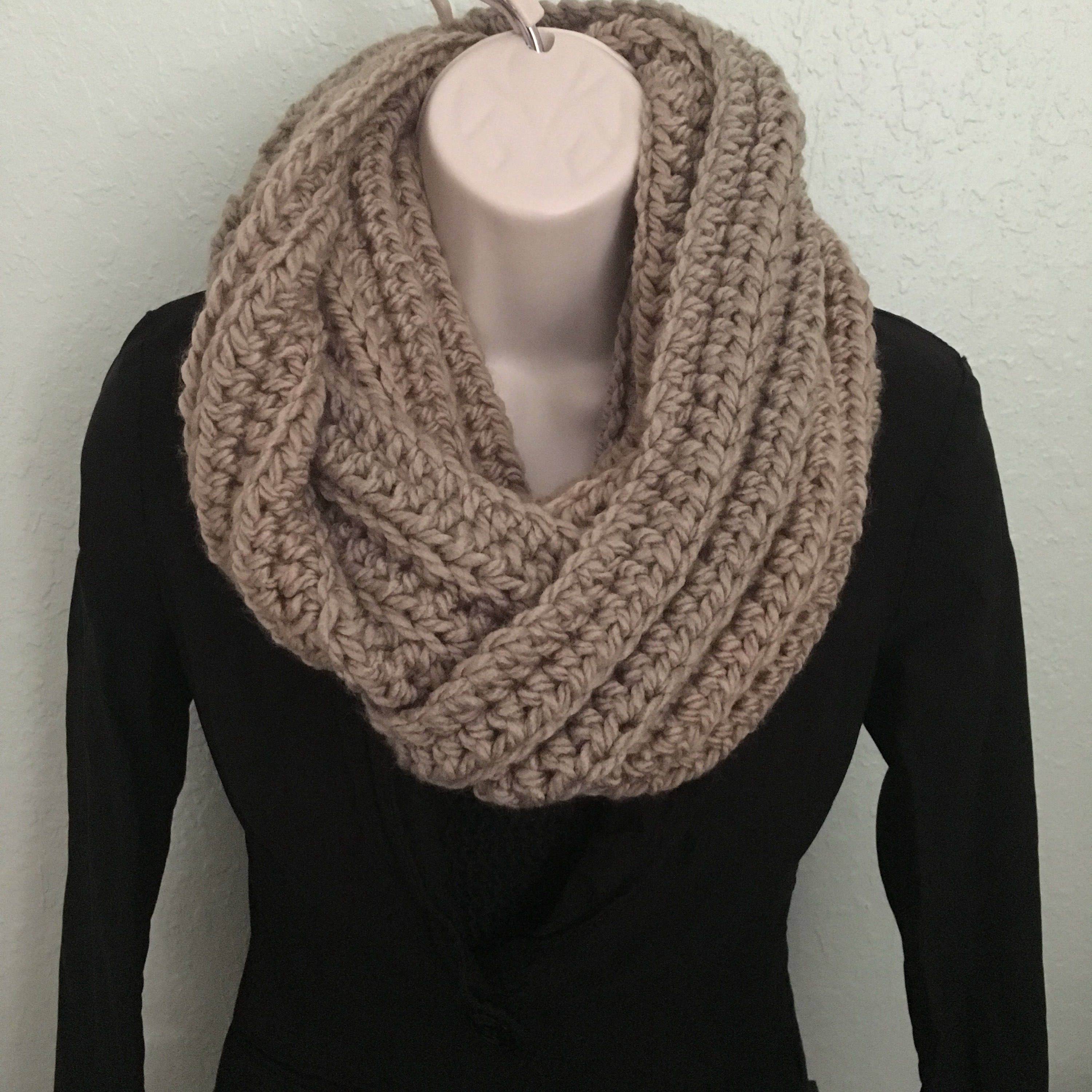 Infinity Ribbed Scarf in Taupe (With images) | Ribbed ...
