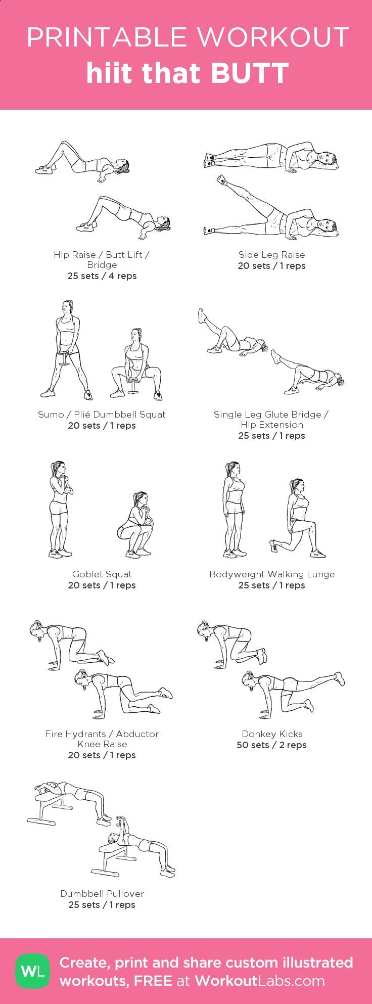 hiit that BUTT –my custom workout created at WorkoutLabs.com • Click through to download as printable PDF! #customworkout