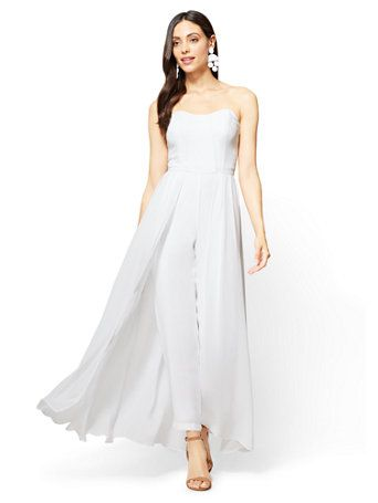 049c00dbff41 Shop Strapless Chiffon Overlay Jumpsuit. Find your perfect size online at  the best price at New York   Company.