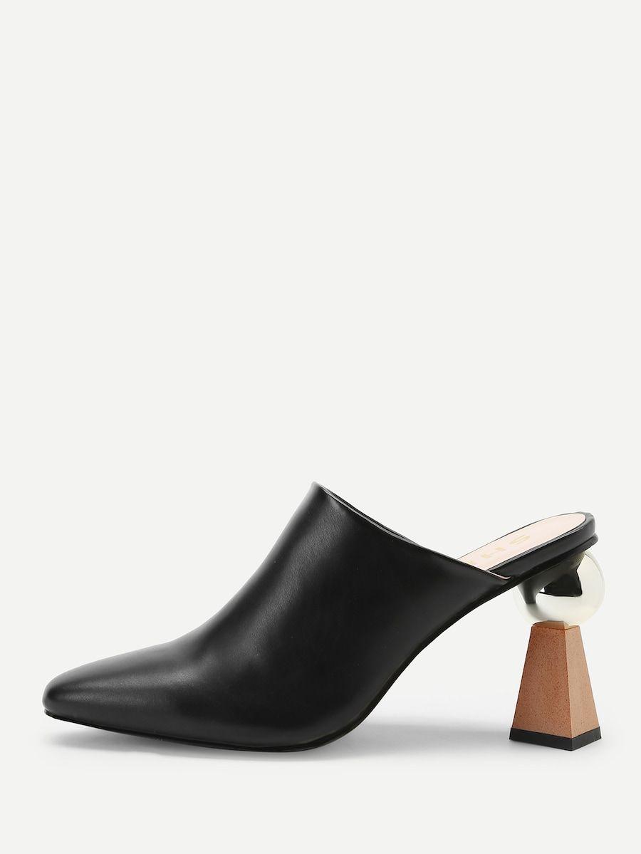 2b5f48a3aa3 Plain Pointed Toe Chunky Heels -SheIn(Sheinside)