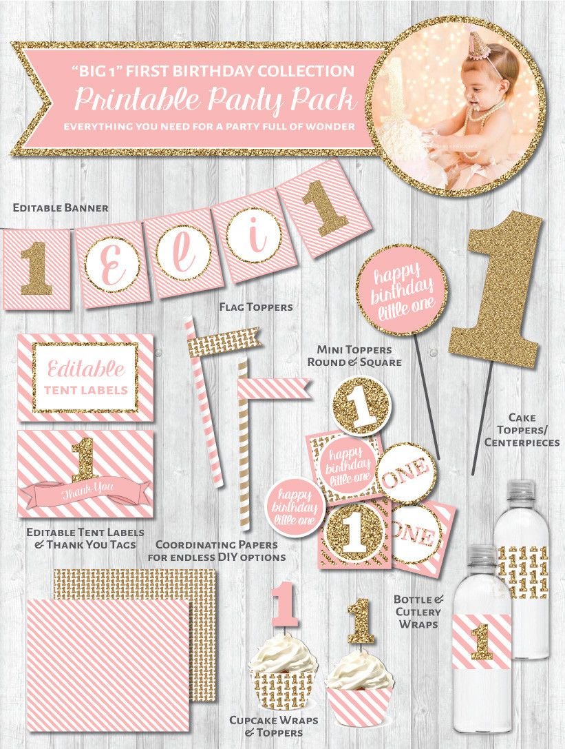 First birthday party printable decor pack big 1 in gold for 1st birthday decoration packs