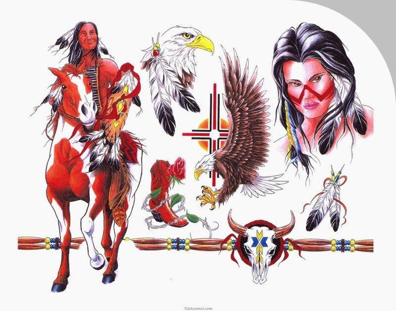 Modèle Tatouage Couleur Indien à Cheval Tc5z367