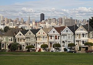 Painted ladies. A row of Victorian houses at 710-720 Steiner St., across from Alamo Square park in San Francisco. These houses appeared in the opening credits of the 90's TV series Full House and other numerous movies, TV programs, and ads. Timothy/CC