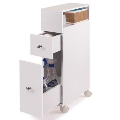 Meuble rangement WC sur roulettes 2 tiroirs blanc - roulette porte coulissante placard