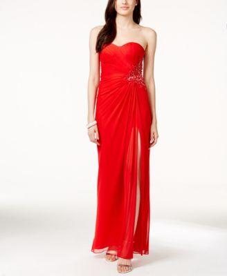 Xscape Red Strapless Dress