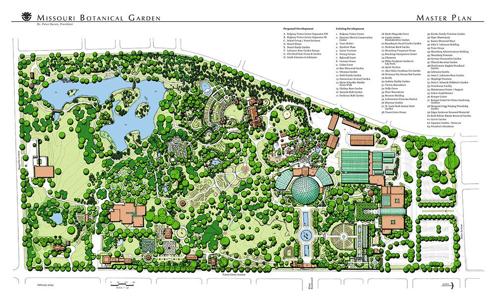 Missouri botanical garden the master plan mtr landscape for Garden design map