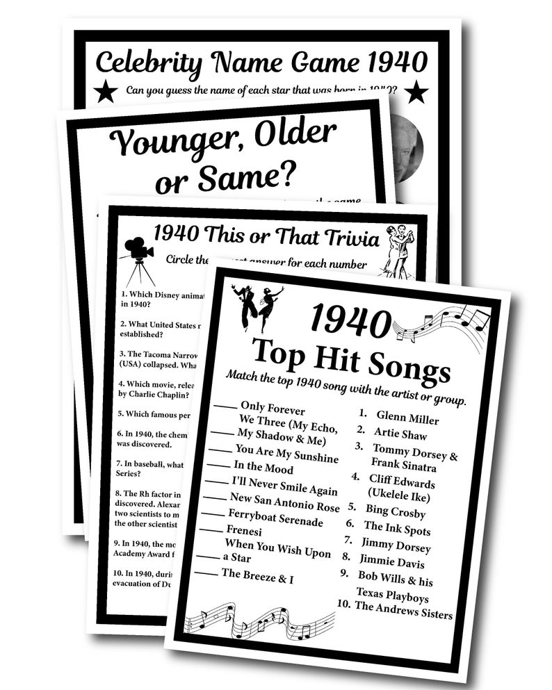 1940 Birthday Trivia Game 1940, Birthday Parties, Fun Game