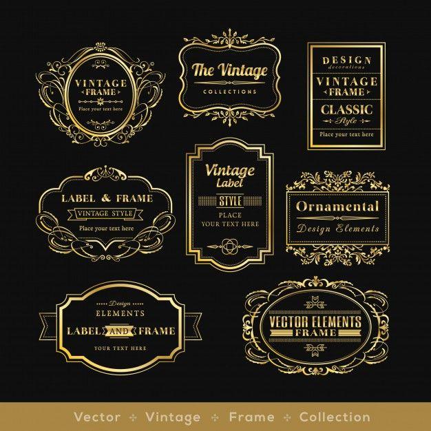 792537a37 retro logotipo quadro elementos de design distintivo de ouro vinage Vetor  grátis