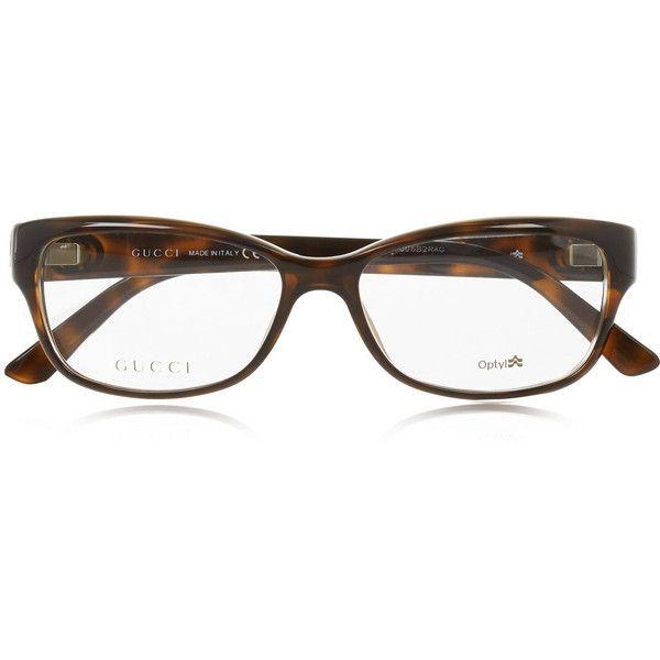 7d6860f9e0 Gucci Square-frame tortoiseshell acetate optical glasses ( 325) ❤ liked on  Polyvore featuring glasses