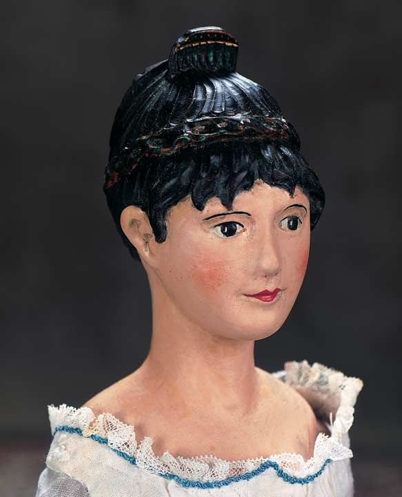 Early Continental All-Wooden Doll with Superb Coiffure