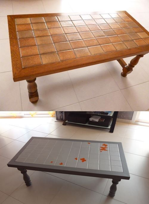 Table Basse Carrelage Repeindre Table Basse Customiser Table Basse Table Basse