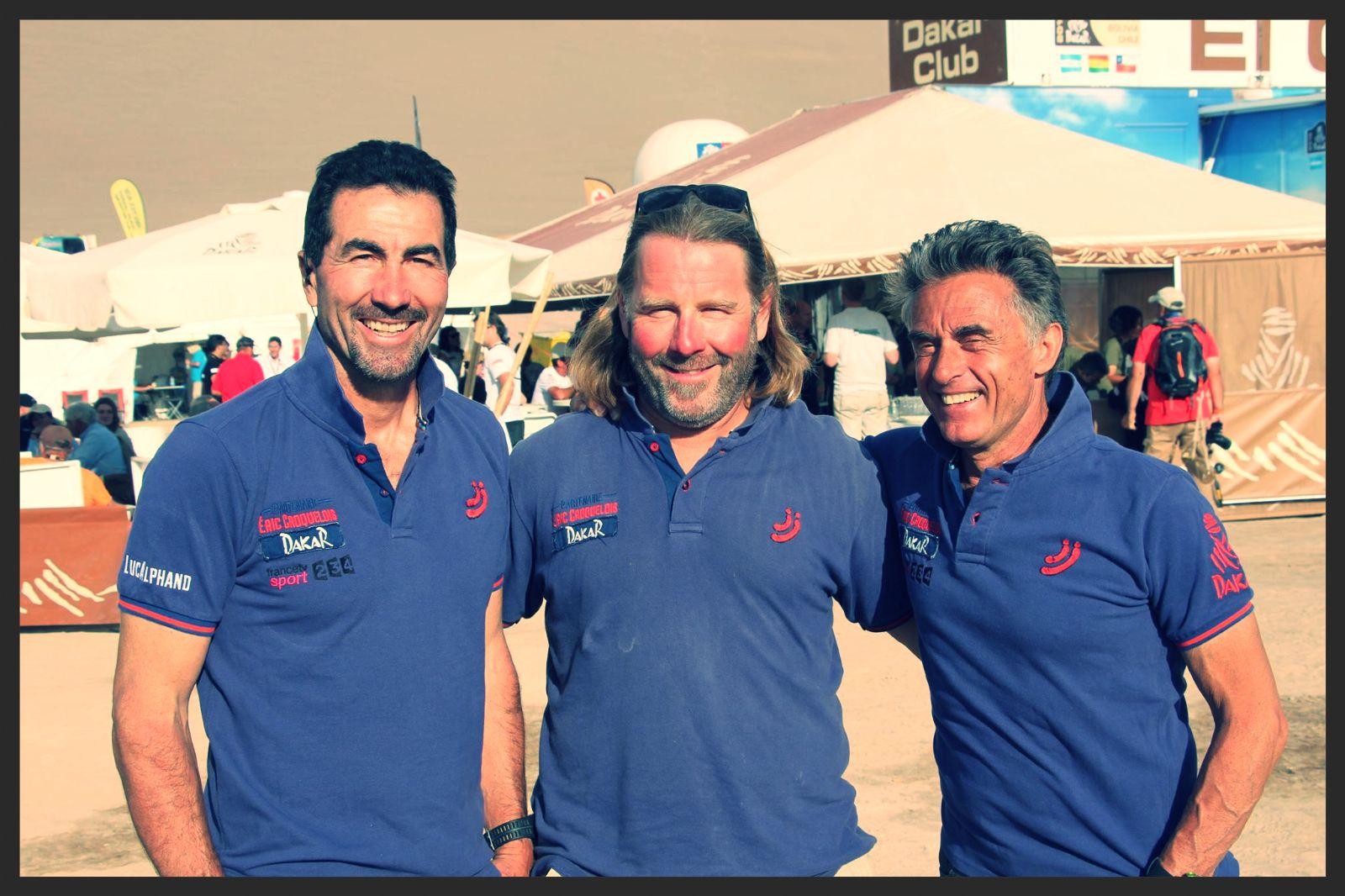 Luc Alphand Eric Croquelois et Gerard Holtz au Dakar 2015
