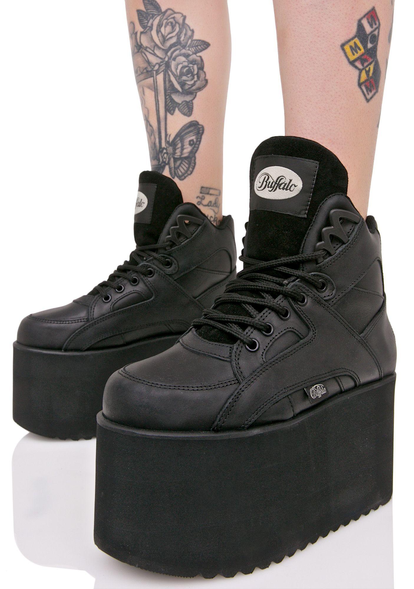 33973bf2363 BUFFALO TEXAS BLACK LEATHER PLATFORM SNEAKERS - I Want It Black