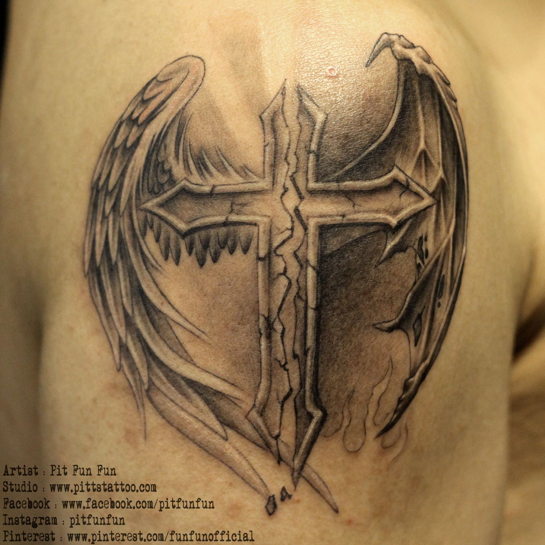 Cross with angel and demon wings . www.pittstattoo.com ...