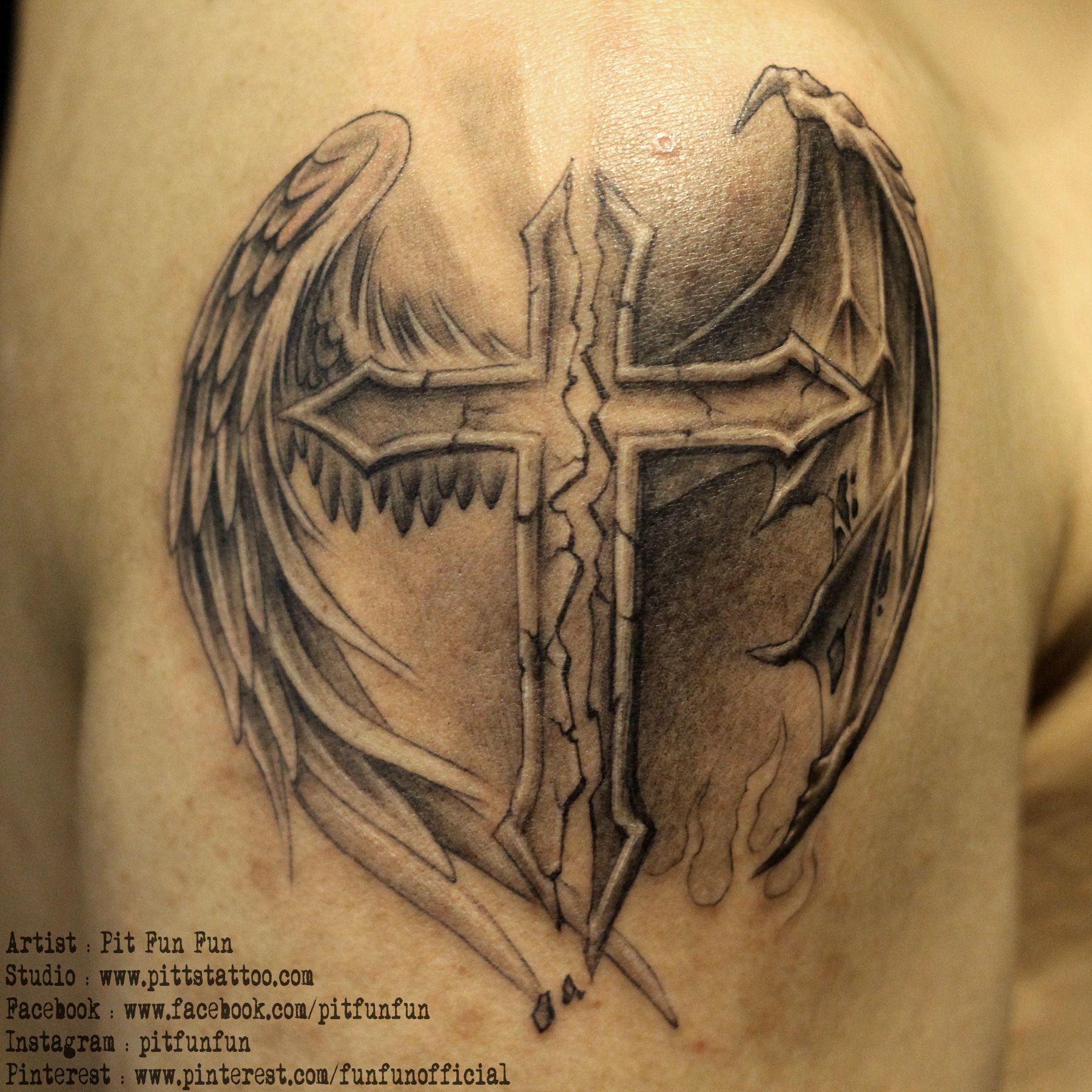 Cross with angel and demon wings pittstattoo facebook cross with angel and demon wings pittstattoo facebook fun fun biocorpaavc