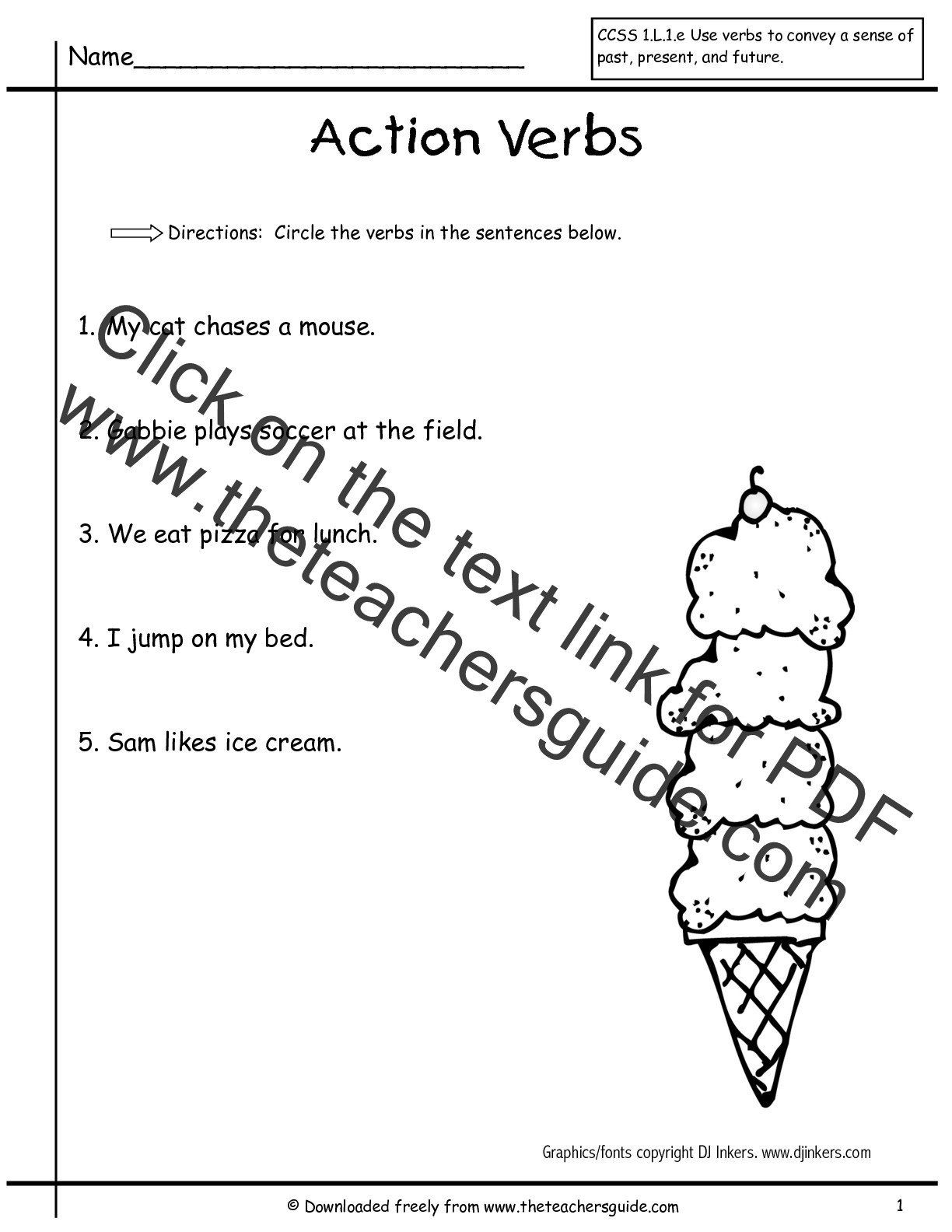 small resolution of Verbs Worksheet for Grade 1 Worksheet Verbs   1st grade worksheets