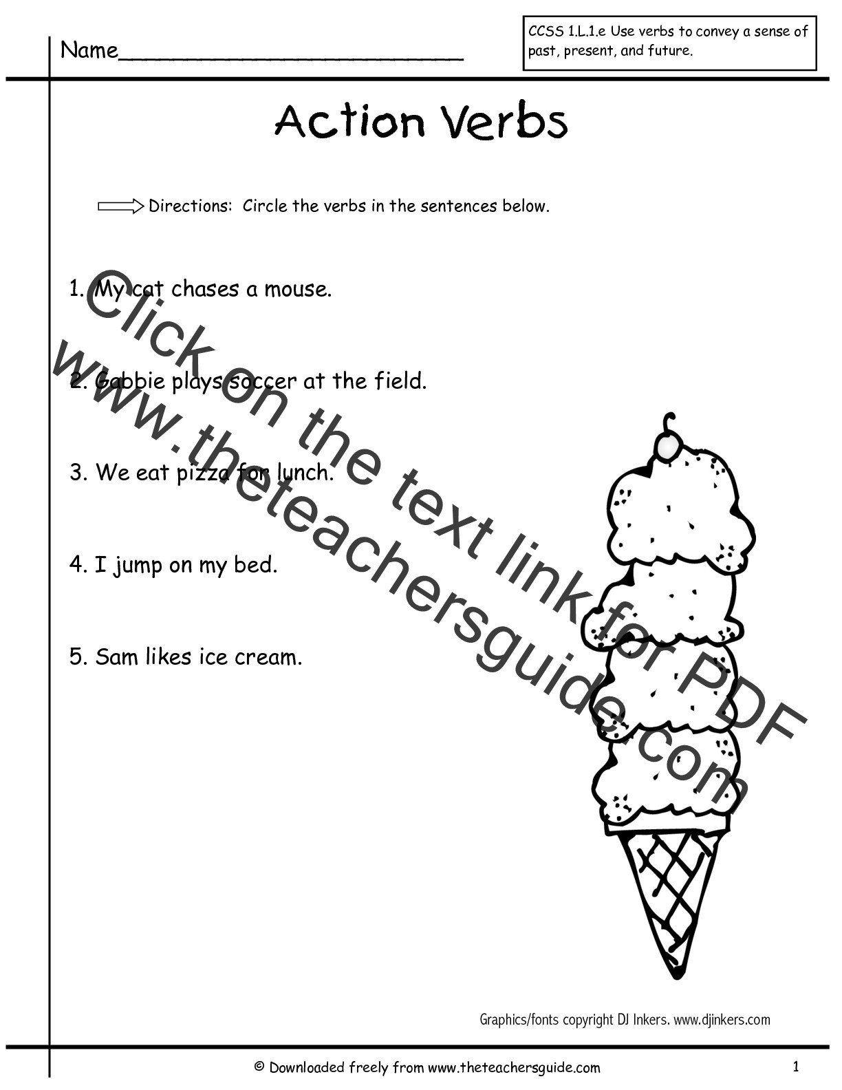 medium resolution of Verbs Worksheet for Grade 1 Worksheet Verbs   1st grade worksheets