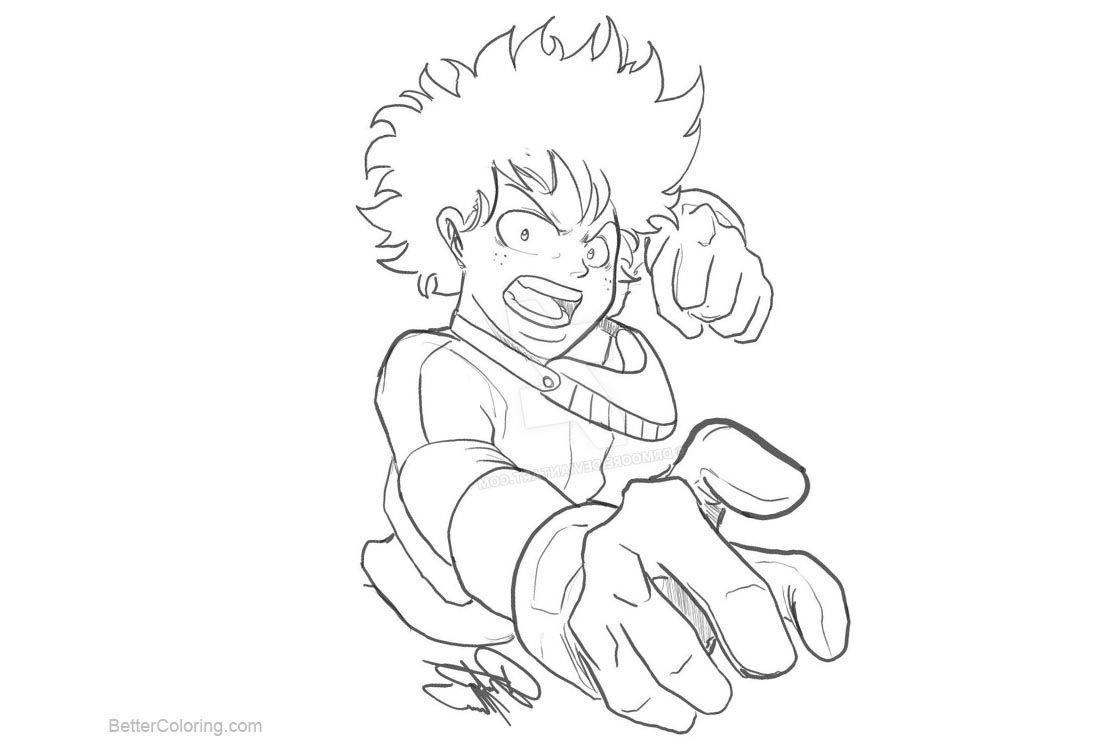 Anime Coloring Pages Deku Designs Trend
