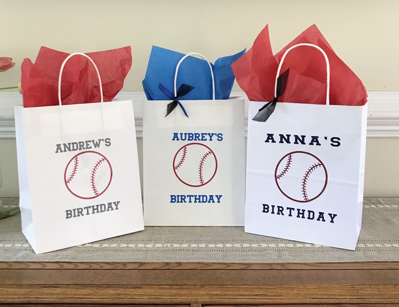Baseball Party Bag Softball Birthday Party Custom Gift Bag Etsy Custom Gift Bags Party Gift Bags Softball Birthday Parties