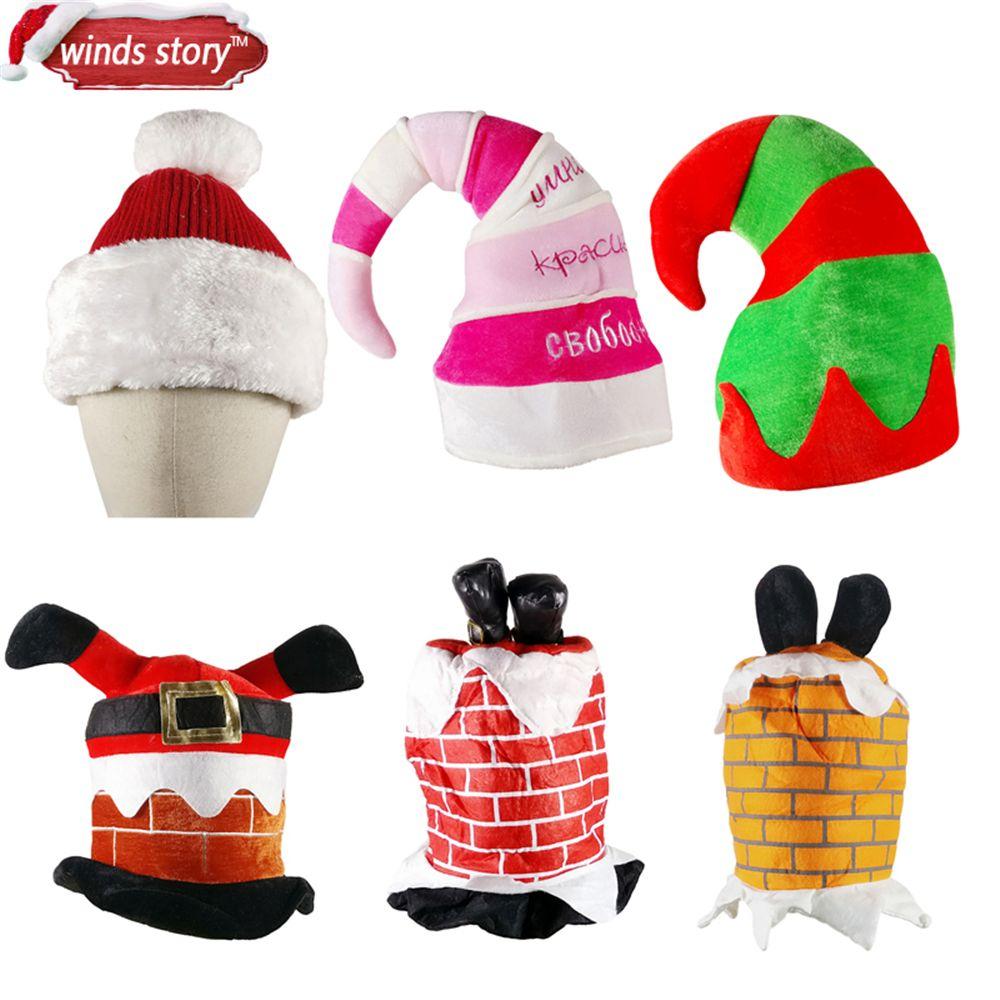 1pcs Christmas Redu0026Green Decorations Party Elf Santa Chimney Hat Decor  Comedy Brick Feet Stuck Xmas Decorative