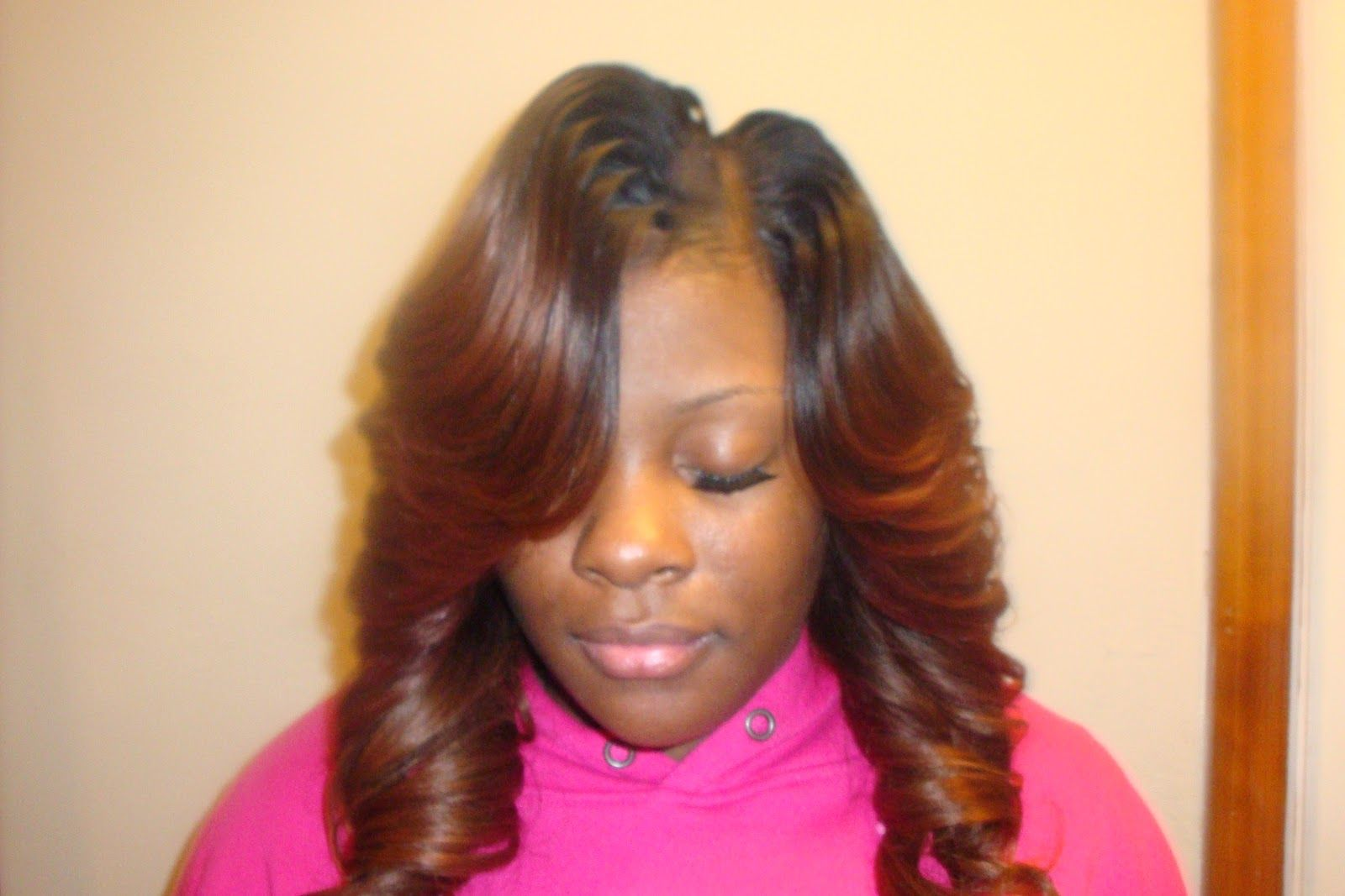 cute long sew ins | straight hair on a cap layered/curled with