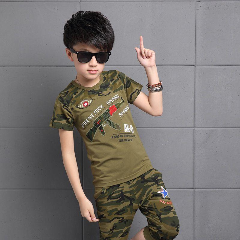 ab56cdf9c0 2017 sommer Heißer Jungen Camouflage Kleidung Anzug Kinder Mode Kurzhülse  Sport Trainingsanzug Kind Uniform Set 2 Stücke G621