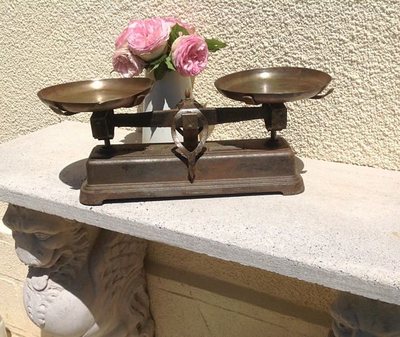 Vintage French Balance Scale. Antique French Kitchen Decor In Cast Iron  With Rich Aged Authentic
