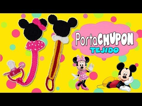 Porta chupón Tejido a crochet Mickey mouse y Minnie mouse - YouTube ...