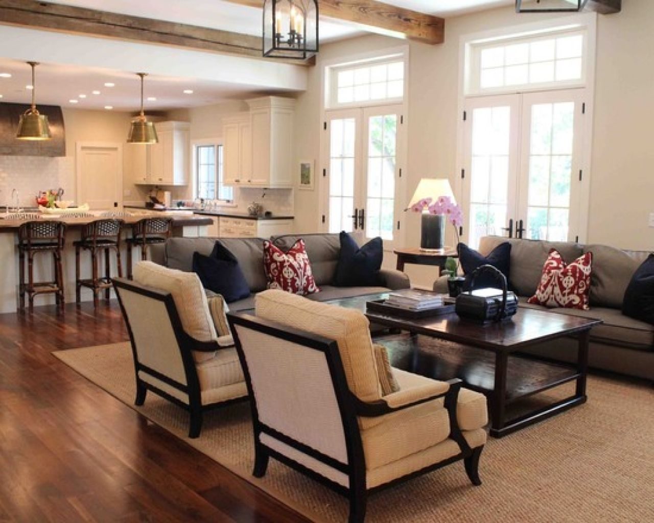 Furniture, Natural Traditional Living Room Design Remodel Decor