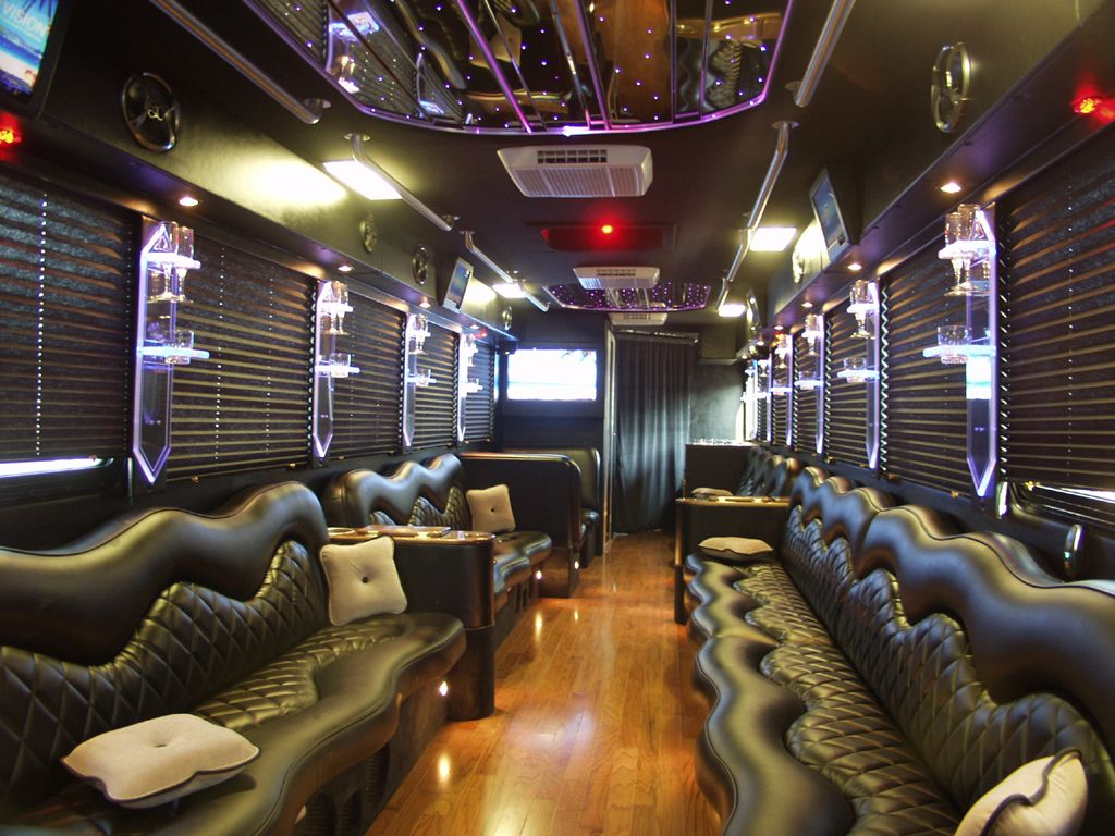 Converted school bus interiors limousine and party buses