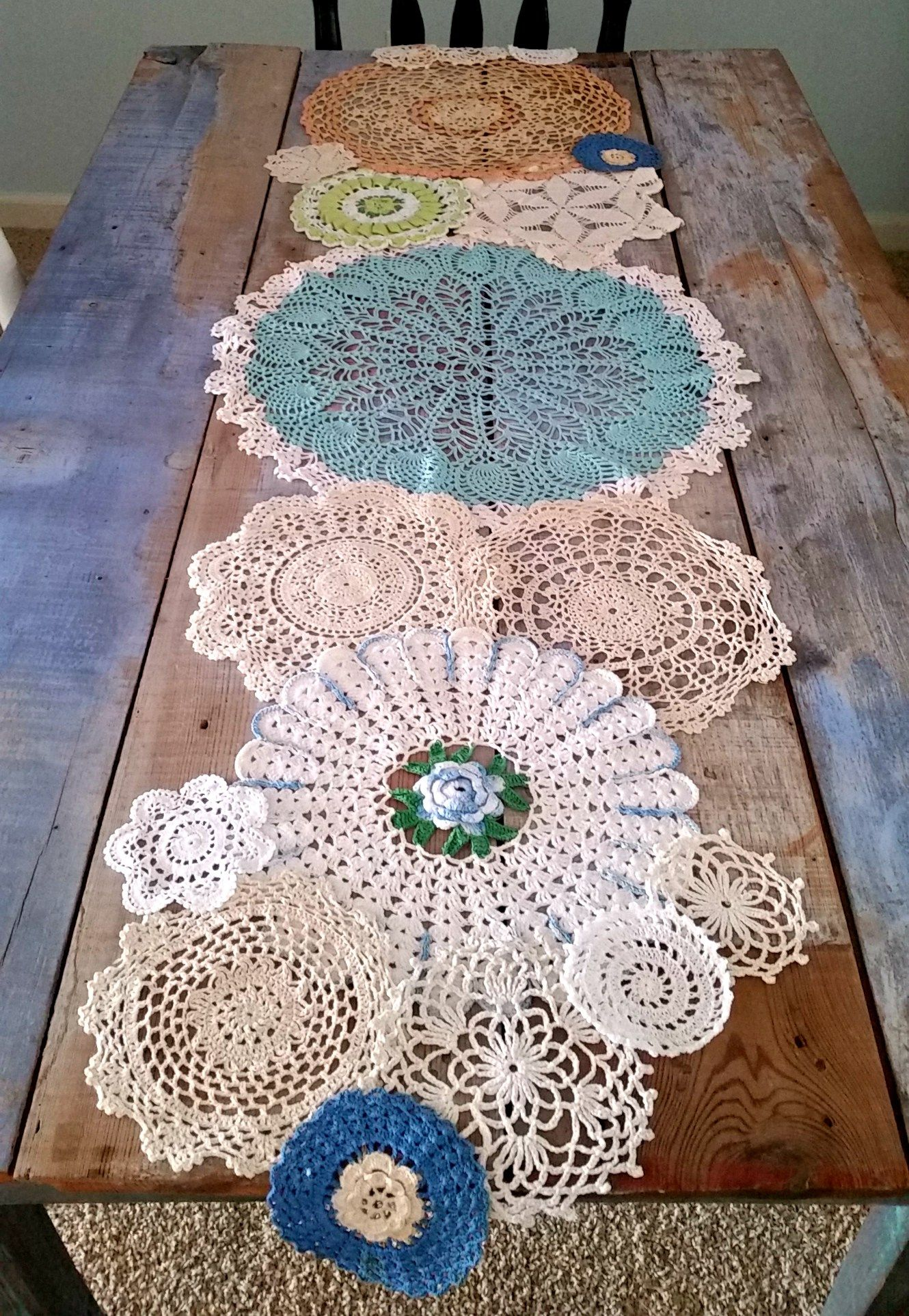 Pastel Dyed Vintage Doily Table Runner for Spring | Häkeln ...