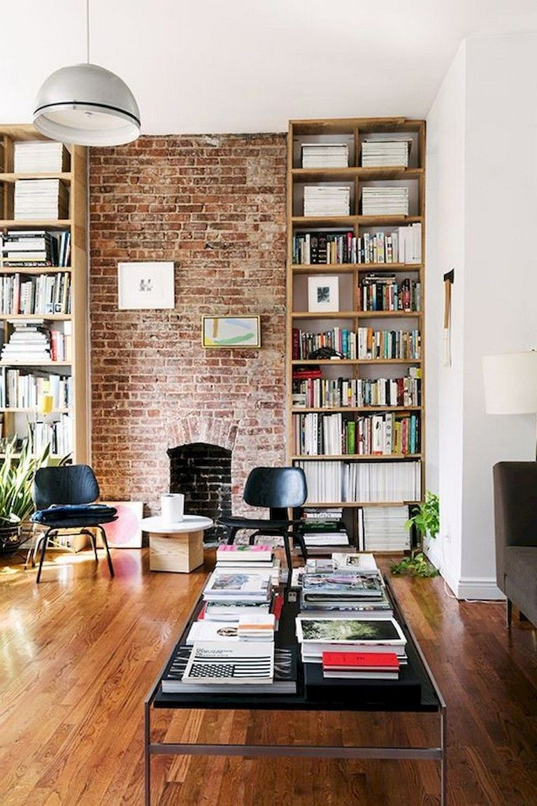 45 Cool Farmhouse Living Room With Brick Wall Decoration Ideas