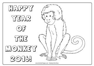 12+ Year of the monkey coloring page info
