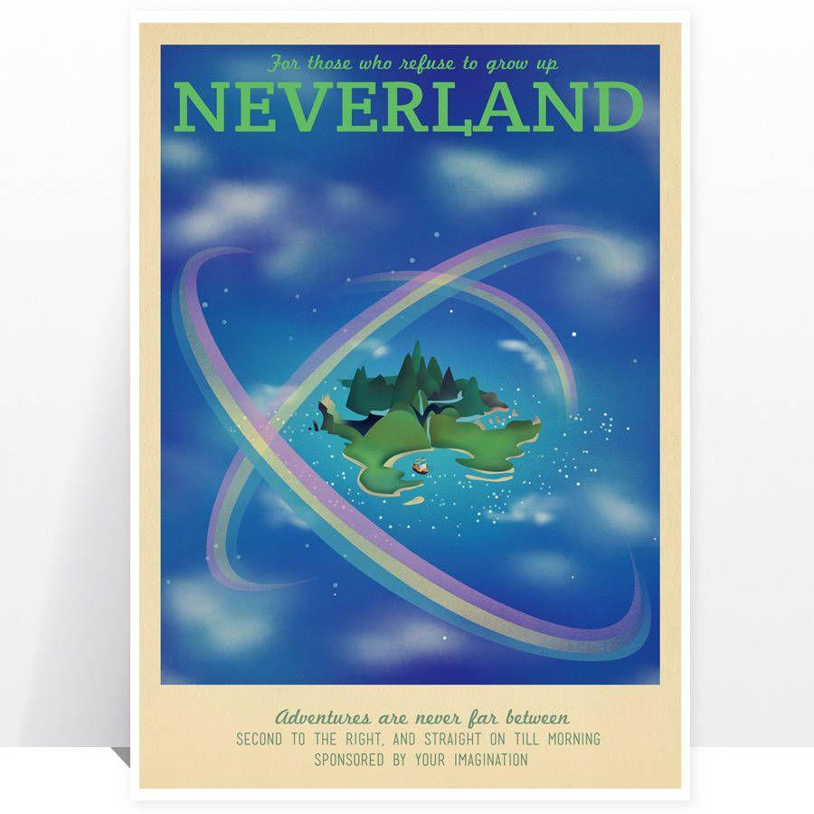 Disney Neverland Pan Retro Travel Print