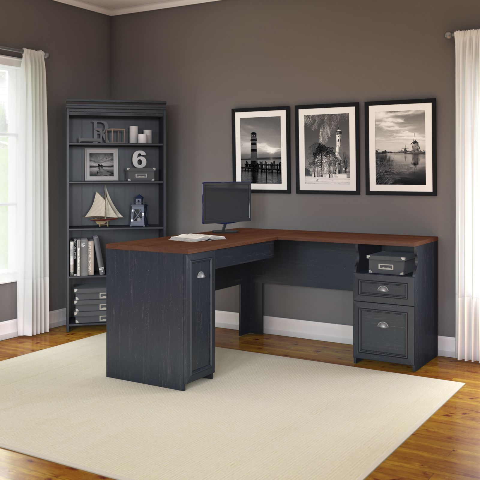 Bush furniture fairview l shaped desk with hutch and lateral file