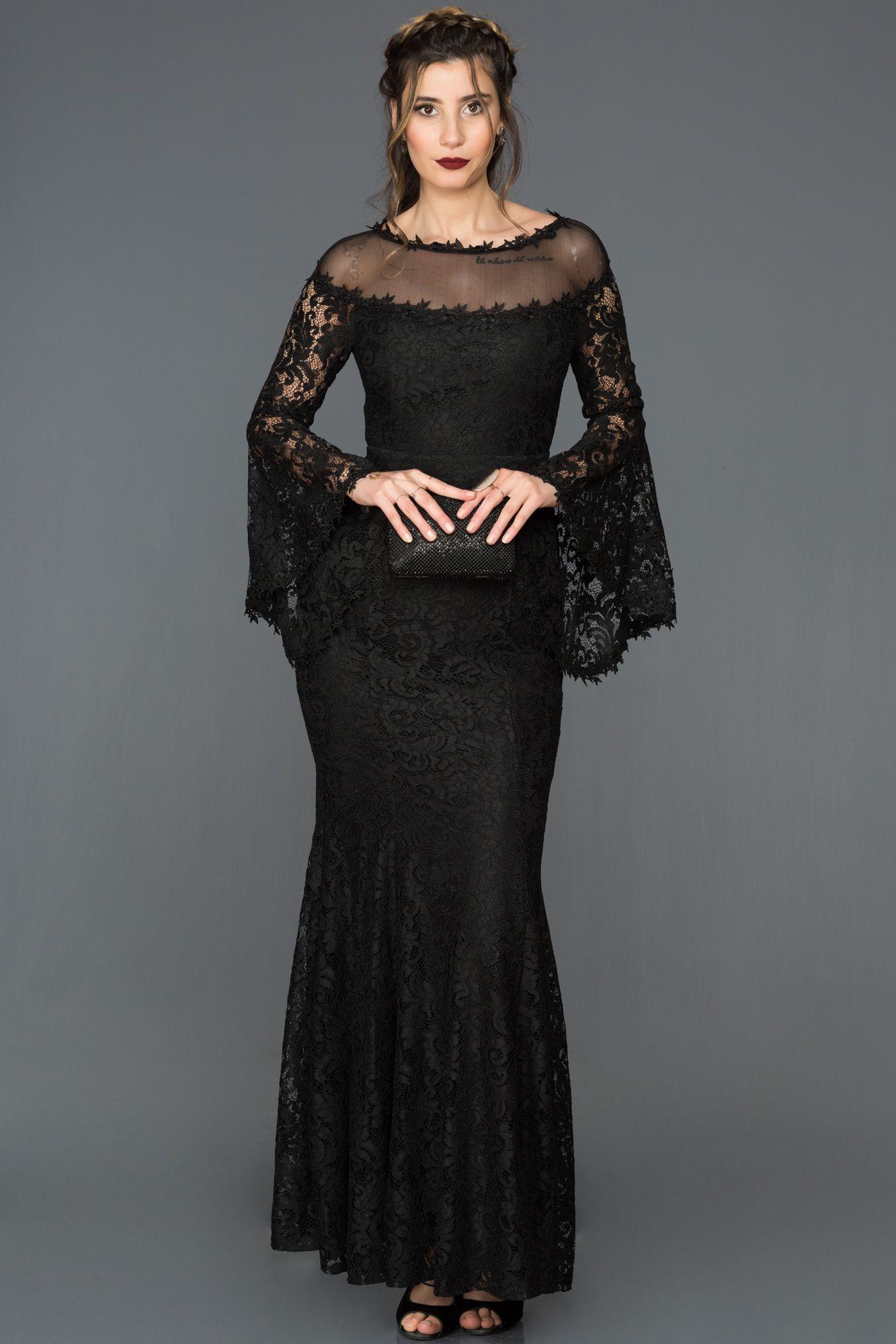 Siyah Dantelli Uzun Elbise ABU164  1f1fdfdd1250