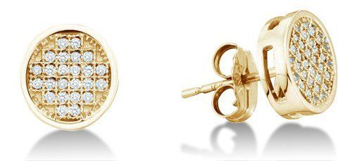 .925 Sterling Silver Plated in Yellow Gold Micro Pave Set Round Diamond Round Circle Stud Earrings with Push Back Closure - (.15 cttw) Sonia Jewels. $139.00. *** FREE Velvet Earrings Box ***. *** FREE Standard Shipping ***. 925 White Gold Plated Silver GUARANTEED, Authenticated with a 925 Stamp. Pure, Real & Natural Diamonds - .15 Total Diamond Carat Weight