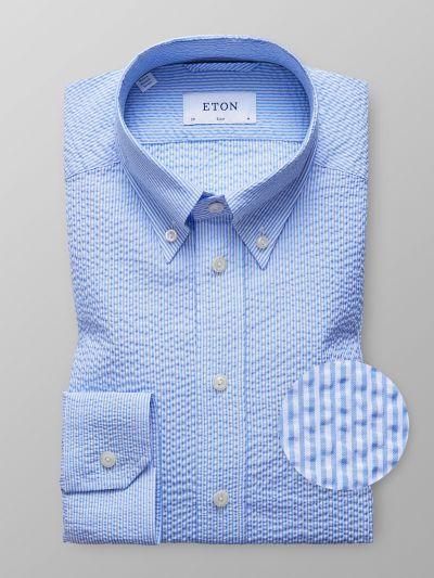 Blue Amp White Striped Seersucker Shirt Chemises Bleues In
