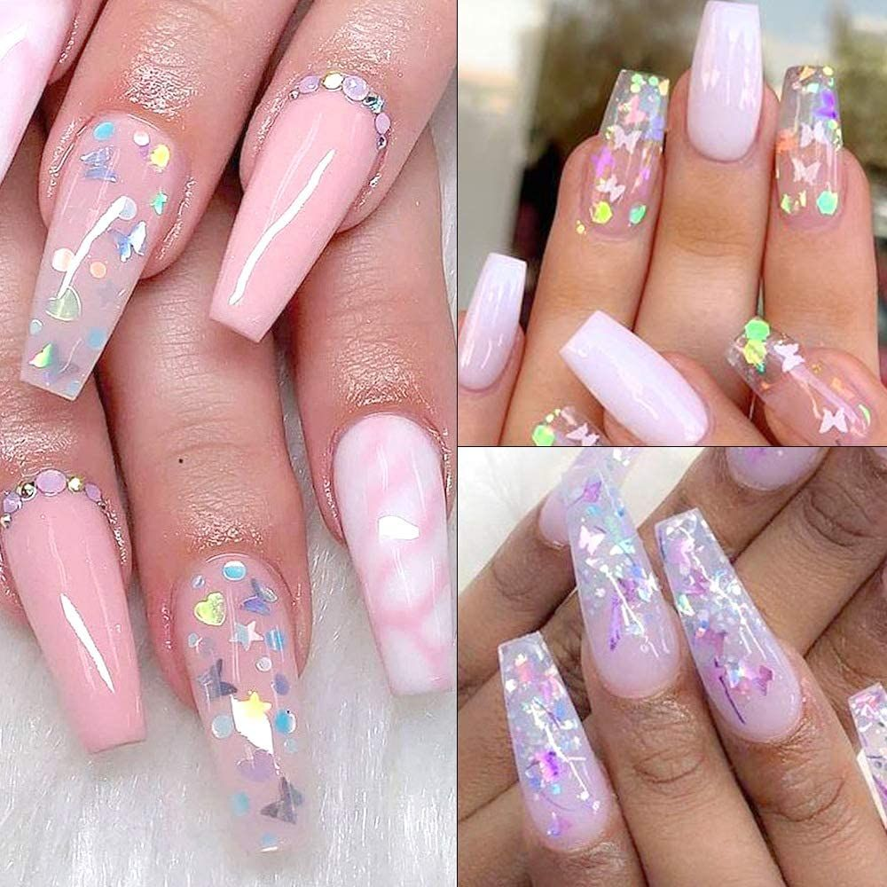 24 Color Butterfly Nail Glitter Nail Art Holographic Butterfly Stickers In 2020 Cute Acrylic Nail Designs Butterfly Nail Glitter Nails Acrylic