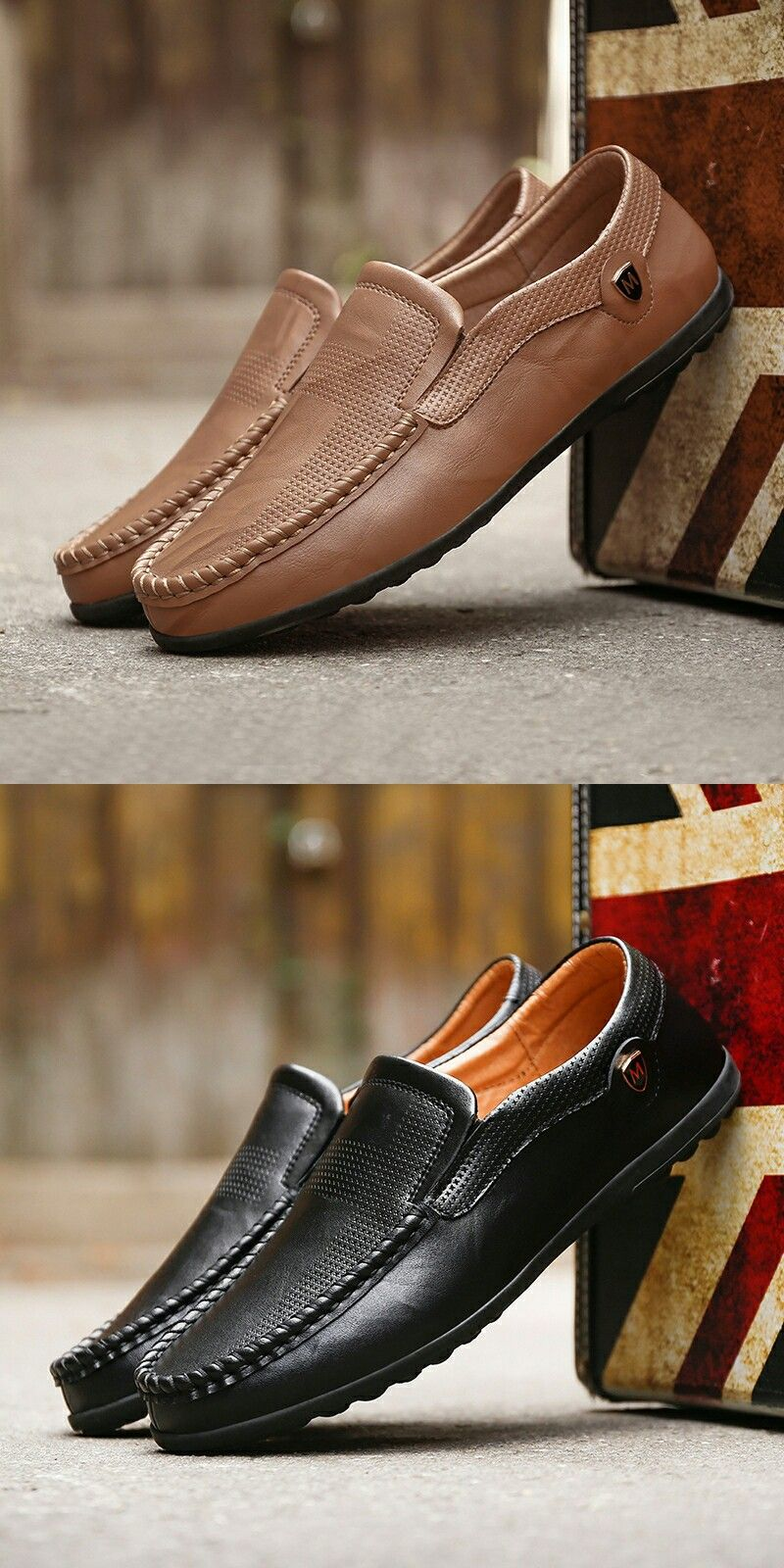 Click to Buy    Prelesty Autumn Genuine Leather Mens Loafers Handmade  Moccasins Cow Leather Men Flats Slip On Male Driving Boat Shoes b76d0c9d88a