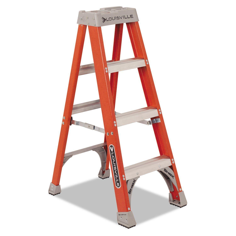 "Fiberglass Heavy Duty Step Ladder, 50"""", 3step, Orange"